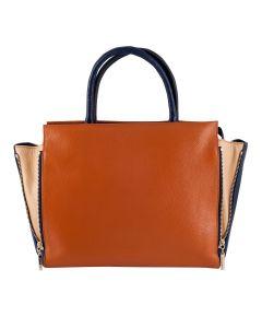 LSL Women Leather Bag Dark Orange/Cream